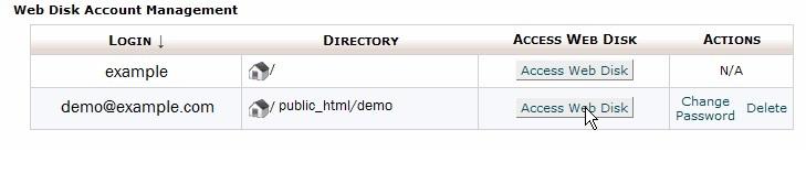 using Web disk